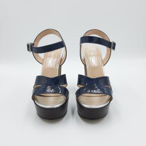Sandalo tacco plateau pitonato blu Le Marinè