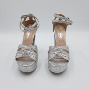 Sandalo tacco plateau argento Le Marinè