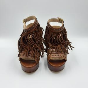 Sandalo tacco plateau con frange Strategia