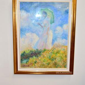 Quadro Castagnaro Copia Monet Donna Con Ombrellino 85x67 Cm