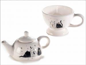 Teiera e tazza con decori gatti e dettagli oro (713815)