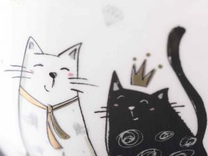 Tazze mug in ceramica con decoro gatti in oro (713814)