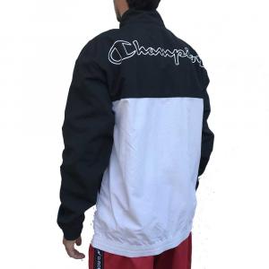 Champion Giacca a Vento Black White Logo da Uomo