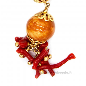 Orecchini gialli e rossi con sfere in ceramica di Caltagirone - Gioielli Siciliani