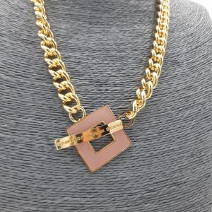 Collana oro con dettaglio logo rosa Francesca Bianchi Design