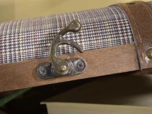 Set 2 valigie in legno e stoffa decorative