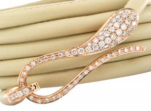 Bracciale in pelle con chiusura in oro rosa e diamanti