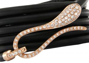 Bracciale Elika in pelle con chiusura in oro rosa e diamanti
