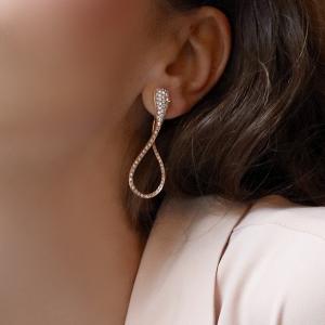 Orecchini  cm. 5 in oro bianco e diamanti