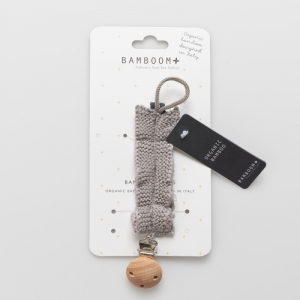 Portaciuccio con clip in legno Bamboom Warm grey