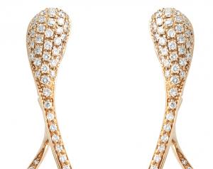Orecchini cm.5 in  oro rosa e diamanti