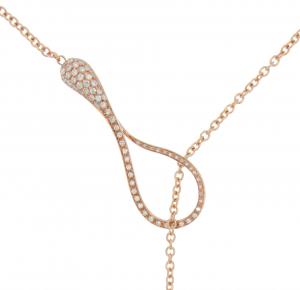 Collana Y-shape cm.5 in oro rosa e diamanti