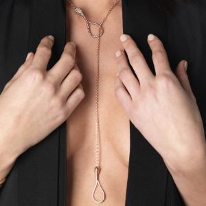 Collana Y-shape cm.5 in oro rosa e diamanti brown