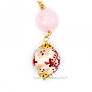 Orecchini con agata rosa e sfere in ceramica di Caltagirone - Gioielli Siciliani