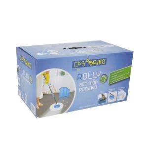 Rolly Set Mop Rotante con Secchio Strizzatore Removibile Manico in Metallo