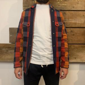 Camicia Scotch & Soda in Lana con Tasche Frontali a Quadri Multicolor