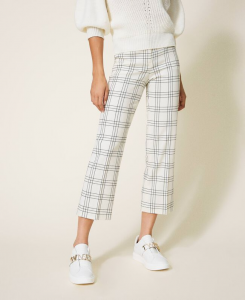 SHOPPING ON LINE TWINSET MILANO PANTALONI CROPPED IN MISTO LANA STRETCH CHECK NEW COLLECTION WOMEN'S FALL WINTER 2020/2021