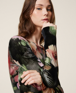 SHOPPING ON LINE TWINSET MILANO BODY IN VELLUTO A FIORI NEW COLLECTION WOMEN'S FALL WINTER 2020/2021