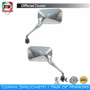 F1500/F1499  COPPIA SPECCHI CROMATI DESTRO SINISTRO D.8 MM. SCOOTER MOTOCICLI FAR