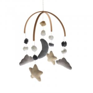 Giostrina per culla lavorata a maglia Nuvola e Pompom Bamboom Grey Tones