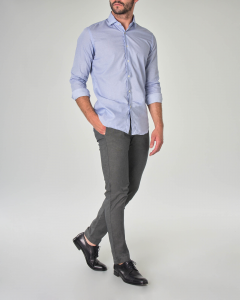 Camicia azzurra con collo francese in fantasia micro puntino