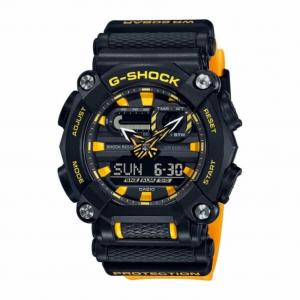 Casio G-Shock orologio digitale multifunzione, cassa nera, particolari e cinturino gialli
