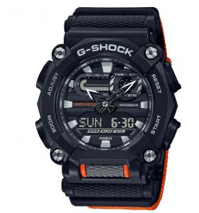 Casio G-Shock orologio digitale multifunzione, cassa nera, particolari e cinturino arancione