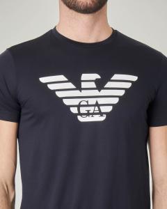 T-shirt blu in pima cotton con aquila stampata
