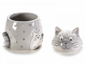 Barattolo contenitore porta dolci a gatto in ceramica colorata (713975)