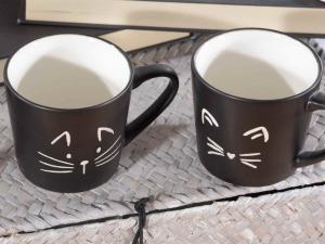 Tazzina da caffè con disegnati dei musetti di gatto (720519)
