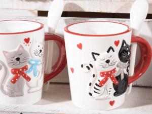 Tazza in ceramica con disegnati due gattini innamorati (713696)