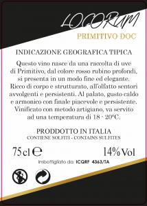 Locorum - Primitivo DOC - Contrada Li Vecchi