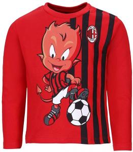 T-Shirt Neonato Maglia Manica Lunga in Caldo Cotone AC MILAN Prodotto Ufficiale