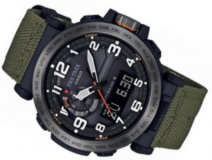 Casio Pro Trek orologio analogico - digitale uomo radio controllato,  i.p. nero, cordura verde