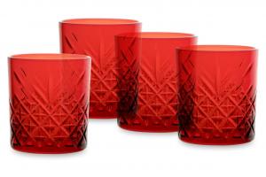 Set 4 pezzi bicchiere acqua in vetro rosso Timeless cl 34,5 cm.9,6h diam.8,5