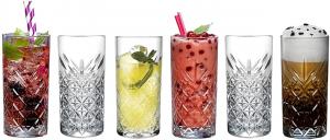Set 6 pezzi bicchiere in vetro vintage da long drink Timeless cl 30 cm.14,3h diam.6,8