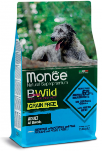 MONGE B-WILD GRAIN FREE - ACCIUGHE, PATATE E PISELLI - ADULT ALL BREED