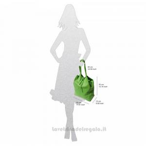 Borsa shopping Turchese a Spalla in pelle - Babila - Pelletteria Fiorentina