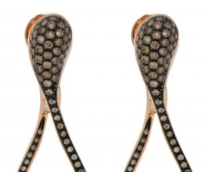 Orecchini cm.3,5 in oro rosa e diamanti brown