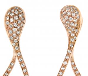 Orecchini cm.3,5 in oro rosa e diamanti