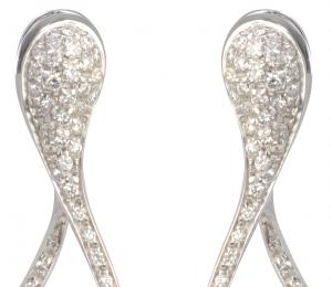 Orecchini cm. 3,5 in oro bianco e diamanti