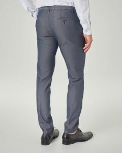 Pantalone chino blu in cotone stretch micro armatura