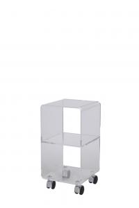Carrello portaoggetti in cristallo acrilico con ruote Multy XS, Vesta Home