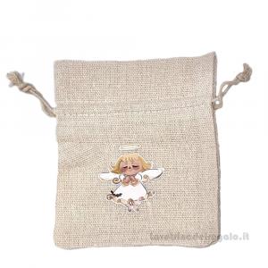 Portaconfetti Beige con bambina in cotone 10x12 cm - Sacchetti comunione bimba