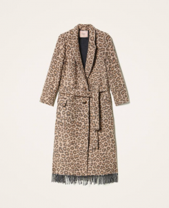 SHOPPING ON LINE TWINSET MILANO CAPPOTTO IN PANNO JACQUARD ANIMALIER COLLECTION WOMEN'S FALL WINTER 2020/2021