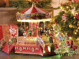 Carillon natalizio in resina con movimento musica e luci