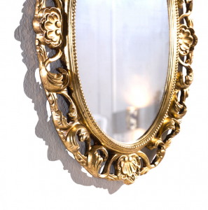 Spiegel oval in Goldblatt patiniert