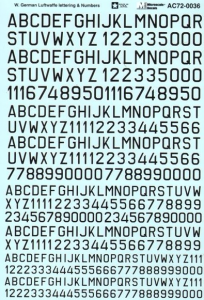 Luftwaffe lettering & numbers