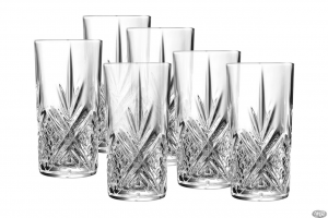 Set di 6 bicchieri long drink in vetro trasparente 38 cl Broadway cm.14,65h diam.7,4