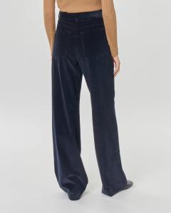 Pantaloni palazzo blu in velluto di cotone cinquecento righe